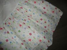 "POTTERY BARN FLORAL MEADOW FLOWERS TWIN BEDSKIRT 14"" RED PINK BLUE GREEN WHITE"