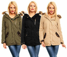 G03 DAMEN PARKA JACKE BLOGGER LEDER MILITARY MANTEL FELL WINTER KAPUZE S M L XL