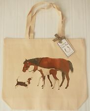 Horse Large Shoulder Tote Bag | Mary Lake Thompson | Canvas Ivory Mare Foal Dog