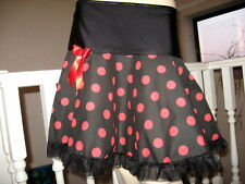 NEW Black,Red Polkadots,Spots  Frilly A Line Skirt,Lolita,Goth,Rock-all sizes