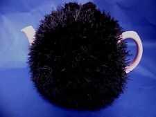 Funky fluffy tea cosy hand knitted in Wales BLACK