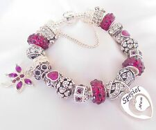 PERSONALISE LADIES CHARM BRACELET PURPLE/SILVER SPARKLE  BEADS GIFT BOXED