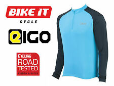 2016 NEW EIGO TEMPEST CYCLING JERSEY - LONG SLEEVE BLUE - MTB ROAD BIKE CYCLE