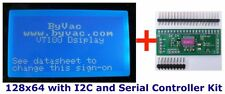I2C or Serial 128x64 LCD controller (BV4611) with optional blue LCD display