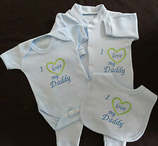 I Love My Daddy Baby Set Grow Vest Bib Blue Pink White Boy Girl Cute Funny Gift