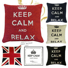 "KEEP CALM DE TRANSPORT / RELAX Chenille Rempli Coussins ou Housses- 18"" /45cm"