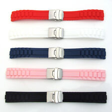 New Silicone Rubber WATCH STRAP BAND Mens Ladies Deployment Clasp Waterproof S41