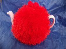 Funky fluffy tea cosy hand knitted in Wales RED