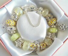 PERSONALISED LADIES LEMON & SILVER  CHARM BRACELET BEADS GIFT BOXED  BIRTHDAY