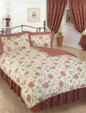 Rope Edge Luxury Red Gold Beige Reversible Floral Duvet Quilt Cover Bedding Set