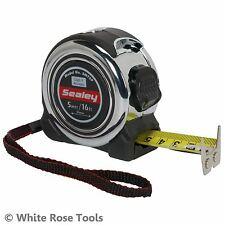 Sealey 5m or 8m Professional Tape Measure Chrome Body Metric Imperial Measuring