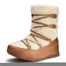 New Womens FitFlop Tan Natural Superblizz Synthetic Boots Ankle Lace Up Pull On