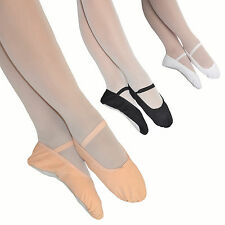 Boys Girls CANVAS BALLET SHOES Pre-Sewn Elastics Full Sole Black White Pink