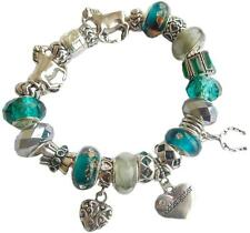 LADIES CHARM BRACELET EQUESTRIAN TEAL & SILVER  BIRTHDAY & MESSAGE CHARM GIFT