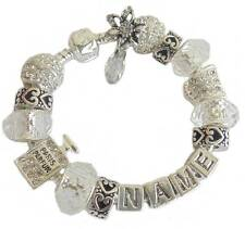 LADIES LUXURY SPARKLING CLEAR RHINESTONE & SILVER  ANY NAME CHARM BRACELET