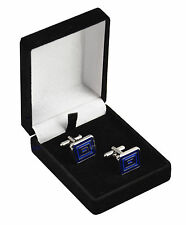 Luxury Black Velvet Cufflink Boxes with Elastics to hold Cufflinks - Gift Boxes