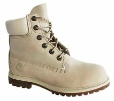 Timberland AF 6 Inch Premium Waterproof Womens Boots Off White Leather 23623 T3I