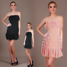 Strapless Lace Chiffon Ruffle Layered Evening Cocktail Party Skater Mini Dress