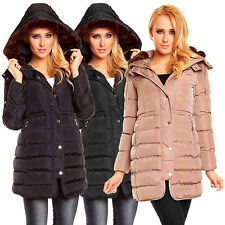 M001 DAMEN DAUNEN LOOK JACKE MANTEL FELL WINTER STEPPMANTEL KAPUZE PARKA