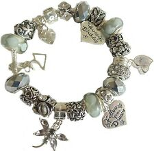 Ladies Charm Bracelet  AGE & RECIPIENT Charm BIRTHDAY Gift Box SILVER GREY
