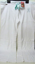 QUALITY WHITE BLUE COTTON DIAMANTE LOUNGE SWEAT PANTS JOGGERS 12-14 & 16-18 BNWT