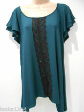 M&S Teal/Magenta Lace Trimming Party Blouse Tunic Top (NEW) Size 8 or 18-£22.00