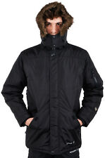 Mens Location Black Winter Military Parka Jacket Waterproof Quilted Padded Coat