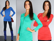 Women's Casual Top With Buttons V Neck Blouse Shirt Tunic Jumper Sizes 8-18 8161