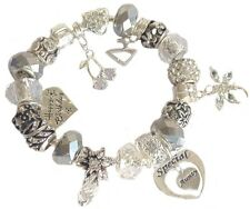 Ladies Women's Birthday Charm Bracelet ICE WHITE SILVER SPARKLE Gift Boxed