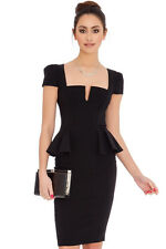 GLAM Celeb Little Black Side Peplum Midi Stretch Cocktail Dress Rocks Boutique