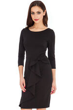 CATWALK Celeb Little Black Waterfall Midi  Stretch Cocktail Dress Rocks Boutique