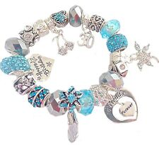 Ladies Women's Birthday Charm Bracelet BLUE &  SILVER SPARKLE Gift Boxed