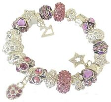 Ladies Girls  Charm Bracelet PERSONALISE Lilac & Silve SPARKLE Gift Box BIRTHDAY