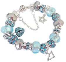Ladies Girls Charm Bracelet PERSONALISE Ice Blue Silver SPARKLE Birthday PRESENT