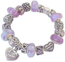 Ladies Girls Charm Bracelet SOMEONE SPECIAL gift  PURPLE Sparkle PERSONALISE