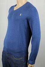 Polo Ralph Lauren Blue Pima Cotton Sweater Yellow Pony NWT