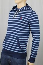 Polo Ralph Lauren Striped Blue Pullover Hoodie Sweatshirt Red Pony NWT $125