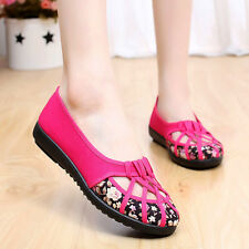 Womens Round Toe Flats Hollow Out Casual Strappy Shoes Floral Sandals Plus Size