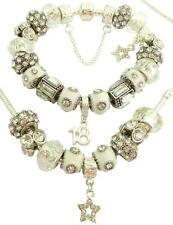 Ladies Charm Bracelet & Necklace Sparkling ICE WHITE CLEAR PERSONALISE Gift Box