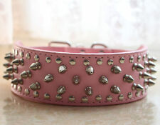 "Spiked Studded Dog Collars New 2"" Pink Leather Dog Collar Pitbull Terrier Boxer"