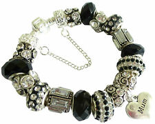 Ladies Charm Bracelet Birthday BLACK SILVER SPARKLE Gift Box PERSONALISE