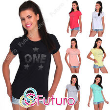 Casual Sequined T-Shirt One Print Crew Neck Party Everyday Top Sizes 8-14 FB228