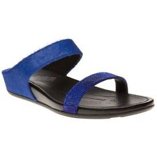 New Womens FitFlop Blue Banda Slide Leather Sandals Flip Flops