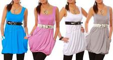 Casual Vest Top With Pockets Sleeveless Scoop Neck Top Tunic Size 8-12 3002