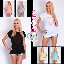 Casual Sequined T-Shirt Heart Print Short Sleeve Top Party Tunic Size 8-14 FB244
