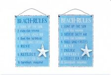 Beach Rules - Metal hanging plaque Sign  - Nautical Sign