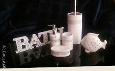 6 piece Diamante Sparkle Bathroom Accessory Set & Wooden Word Ornament NEW GIFT