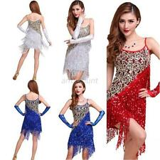 New Sexy Lady Cocktail Party Latin Ballroom Salsa Dance Sequin Fringe Club Dress