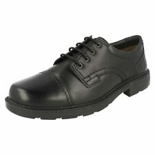 CLARKS MENS BLACK LEATHER LACE UP SHOES 'G' WIDTH FIT- LAIR CAP