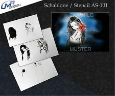 Step by Step Stencil AS-101 Frau ~ UMR Airbrush Schablone